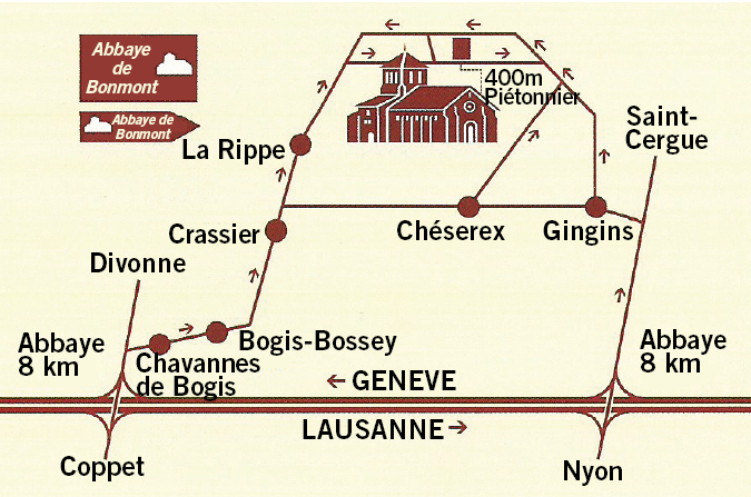 plan d'accès à Bonmont